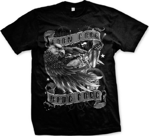 Born Free Ride Free Mens T-shirt, Bald Eagle With Chopper and Flag Men's Old School Motorcycle Shirts, XXX-Large, Black