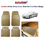 AutoSun Car Body Cover/ Car Foot Mats Set of 4 Pc Beige BMW 5-Series (520D, 525D, 530D, 535i, 530M)