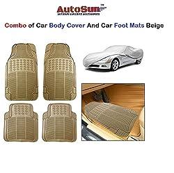 AutoSun Car Body Cover/ Car Foot Mats Set of 4 Pc Beige Mitsubishi Pajero (Old)