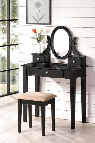 Vanity and Stool Set with Oval Mirror in Black Finish