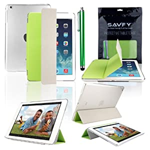 SAVFY New Apple iPad Air (2013 Edition) Ultra Thin Magnetic Smart Cover Stand Green & Clear Crystal Hard Back Case, with Auto Sleep and Wake Sensor and Special Hook Design for Apple iPad Air iPad 5 Generation, EXTRA Gift: SAVFY Stylus Pen + SAVFY Screen Protector Film