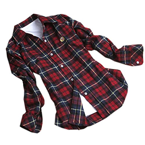 FOREVER YUNG A Fashion Long-Sleeved Plaid Shirt Dark Red-Blue XXL