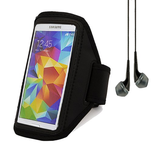 Adjustable Running Sports Gym Armband Case Cover For Samsung Galaxy S5 / Htc One M8 / Sony Xperia Z2 (Black) + Black Vangoddy Headphones With Mic