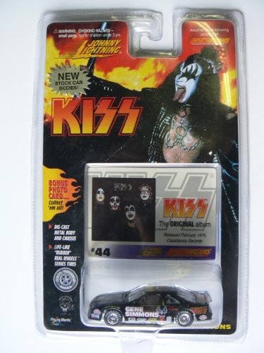 Johnny Lightning Kiss Gene Simmons Stock Car with Card #44 Card the Original Kiss Album - 1