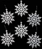 Package of 24 Hanging Iridescent White Flat Snowflakes