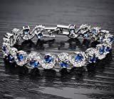 Feraco Jewelry Platinum Plated Bling Rhinestone Cubic Zirconia Bracelet For Women Sparkle Crystal Wrist Band Bangle Wedding Jewelry,Blue Silver