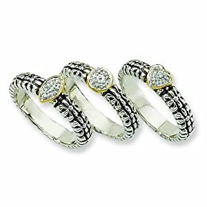 Sterling Silver with 14k 1/20ct. Diamond 3 Stackable Rings