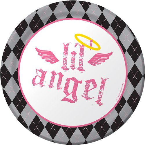 Creative Converting Angel Birthday Round Dessert Plates, 8 Count