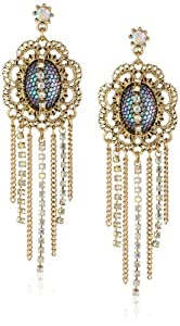 """Betsey Johnson """"Prom Party"""" Mesh Wrapped Crystal Multi-Chain Drop Earrings"""