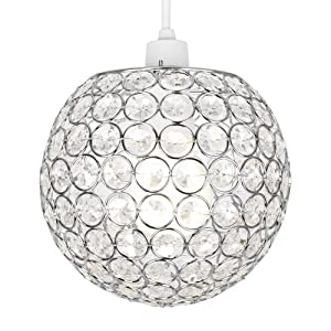 Modern Globe Ceiling Light Shade with Acrylic Crystal Effect Jewels from MiniSun
