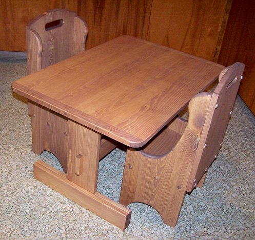 "Children's Wooden Play Furniture - Trestle Table + 2 Chairs - 8"" Seat Height"