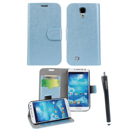 Candywe Soft Skin Wallet Flip Premium Leather Case Pouch Cover For Samsung Galaxy S4 SIV S IV i9500 Blue