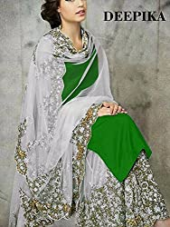 khazanakart fashion Green designer dress materials for women and bollywood dress materials or partywear dresses
