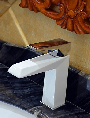 zhangyongpeinture-contemporaine-blanche-un-trou-poignee-simple-robinet-evier-de-salle-de-bains-blanc