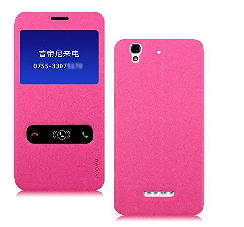 Pudini Goldsand Series Flip Stand Case Cover for Micormax Yu Yureka - Free Screenguard - Pink