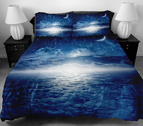 Anlye Teen Bedding For Home Decorators 2 Sides Printing The Meteors Navy Blue Star Bed Linen With 2 Silk-Like Moon Pillow Cases King front-879124