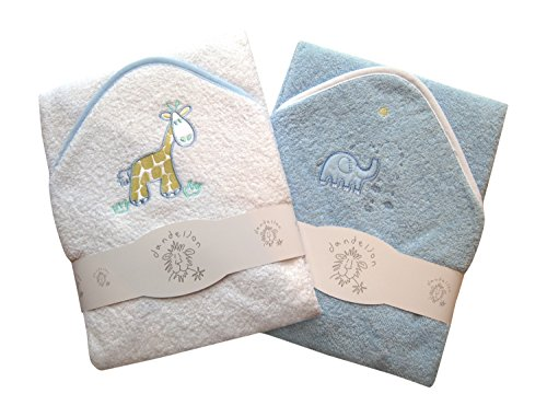 A-Set-of-Two-Luxury-Hooded-Baby-Bath-Towels-100-Cotton-In-Pink-or-Blue-with-Cute-Animal-Appliques