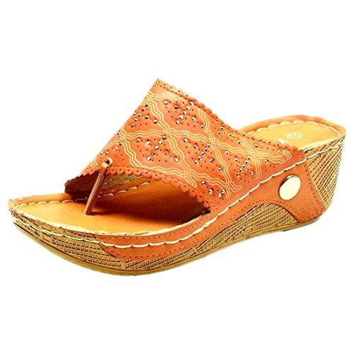 Misswish Womens Camel PU Synthetic Fashion Sandal (4)