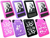Emartbuy® Amazon Kindle Keyboard 3G / Wi-Fi Bundle Pack of 4 Silicon Skin Cover/Case - Floral Pink, Floral Black, Butterfly Purple & Hearts Pink
