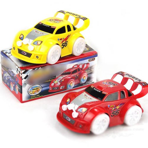Huntgold New Cool Electric Universal Toy Car Automatic Steering Flashing Music Racing Car(Random Color)