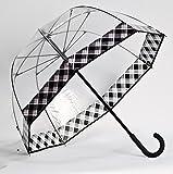 Clear Dome Bubble Umbrella With Black & White Plaid Trim