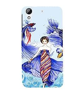 PrintVisa Fashion Fish Girl Dress Design 3D Hard Polycarbonate Designer Back Case Cover for HTC Desire 626