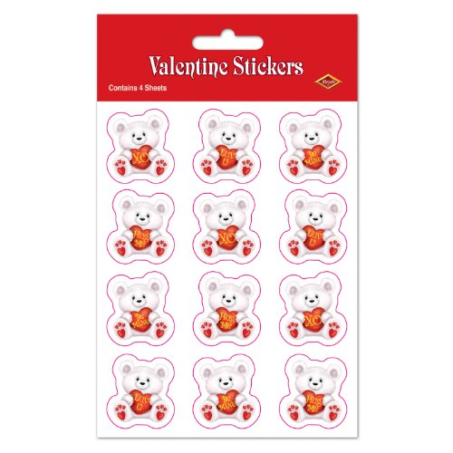 Valentine Bear Stickers   (4 Shs/Pkg)