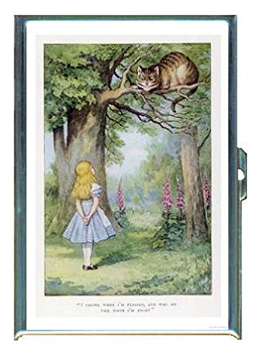 Alice in Wonderland Color Cheshire Cat on Background Stainless Steel ID or Cigarettes Case (King Size or (Cat On Alice And Wonderland)
