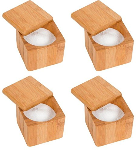Bamboo Round Salt or Spice Box with Lid Set of 4 by Trademark Innovations (Salt Bamboo Container compare prices)