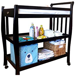 Solid Pine Baby Diaper Change Table with 2 Shelves (Espresso)