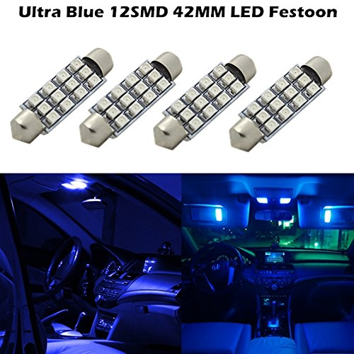 Partsam For 2007-2013 Ford Fusion 4 X Car Dome 3528 Smd Led Canbus Bulb Light Interior Festoon Led 42Mm Blue