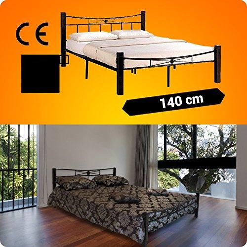 Metallbett 200x140cm mit Schwarz Holzfüße + Lattenrost Schlafzimmerbett Doppelbett Metall Bett BS1.4