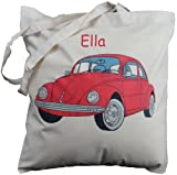 Personalised - Red VW Beetle - Natural Cotton Shoulder Bag