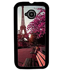Fuson Premium Eifel Tower Metal Printed with Hard Plastic Back Case Cover for Motorola Moto E (2nd Gen)