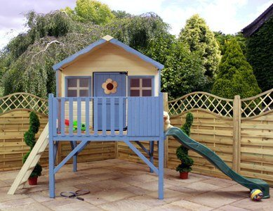 Mercia Honeysuckle Playhouse with Tower and slide, playhouse, wendy house, wooden play house, with tower and slide (SI-002-001-0042) by Mercia (Wooden Playhouse With Slide compare prices)