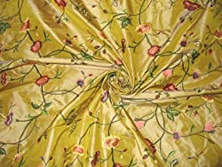 HOTHOUSE FLOWERS COLLECTION - Embroidered Silk Taffeta - Iridescent Yellow