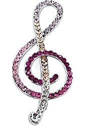 Multicolor Crystal Music Note Pin Swarovski Crystal Pin Brooch