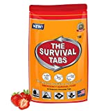 Survival Tabs 100% USRDA 2-day Nutrition Emergency Food Supply - Long Term Food Storage Hurricane Disaster Preparation - MRE Gluten Free and Non-GMO 25 Years Shelf Life - Strawberry Flavor
