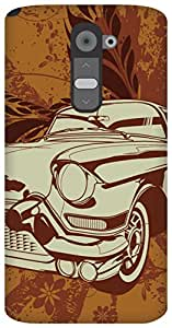 The Racoon Grip vintage ride hard plastic printed back case / cover for LG G2