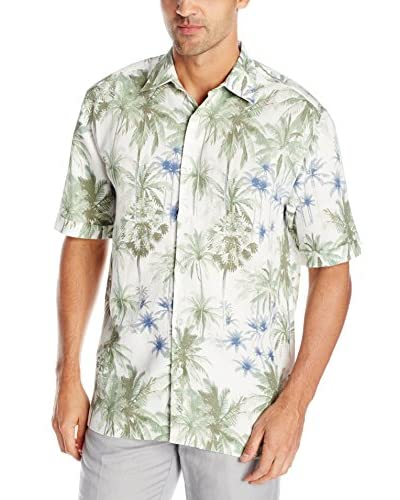 Cubavera Men's Short Sleeve Allover Palm Print Shirt