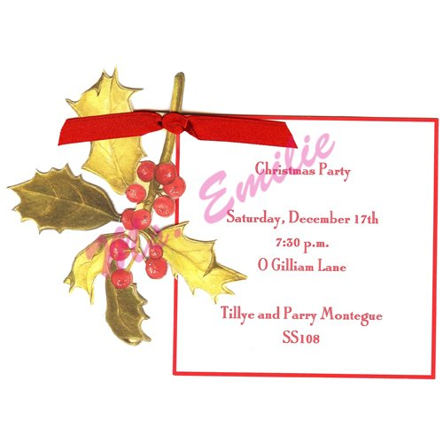 Holly Die-Cut Card, Pack Of 10 front-941607