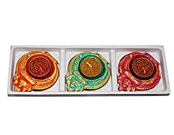 Sanskrite India Hand-Crafted Designer Multicolor Divine Diwali Diya - Set of 3 (Free Express Shipping, 2-3 Days Delivery)
