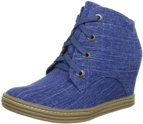 Blowfish Trick Wedges Lace Boot Boots Womens Blue Blau (indigo coz.Linen BF252) Size: 6.5 (40 EU)