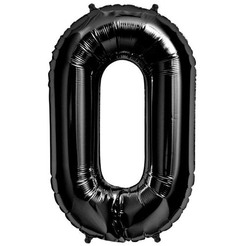 "Foil Balloon 34"" Number 0 - Black - 1"