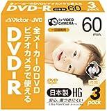 Victor ビデオカメラ用8cmDVD-R ハードコート 60分 3枚 VD-R60J3