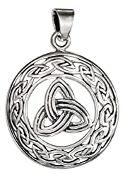 Sterling Silver Round Trinity Knot Pendant
