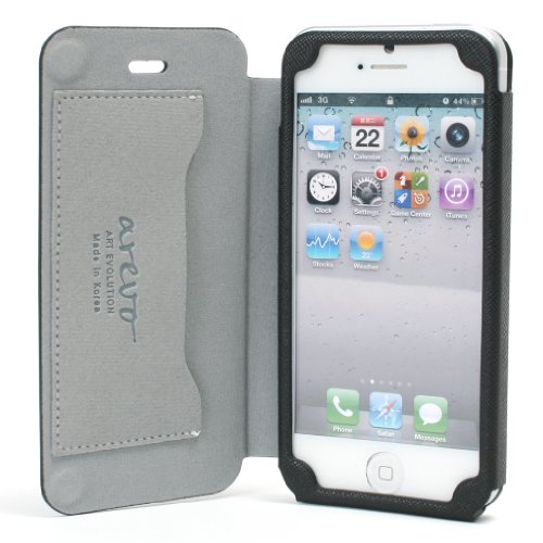 Best Price Slim PU Leather Case with Magnetic Closure for Apple iPhone 5 - Black