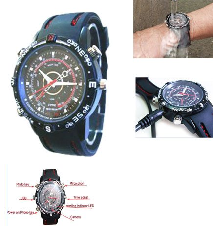 Sportsman's Waterproof Spy Watch records quality video and photographs. (949) Ideal Gift.