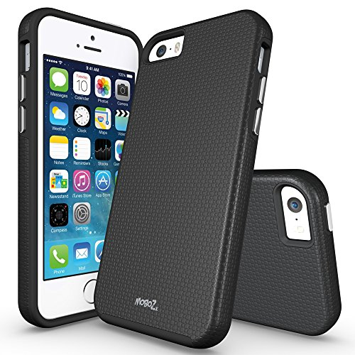iPhone 5S Case, iPhone SE Case, MoboZx [Premium Texture] Dual-Layer [Rugged PC + Flexible TPU] Slim Protective Grippery Heavy-Duty Scratch-Resistant ShockProof Bumper For Apple iPhone SE/5/5S (Black) (Heat Sensitive Iphone Case compare prices)