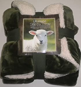 "Ultimate Sherpa Throw Blanket Green Reversible Cream 60""x70"" NEW"